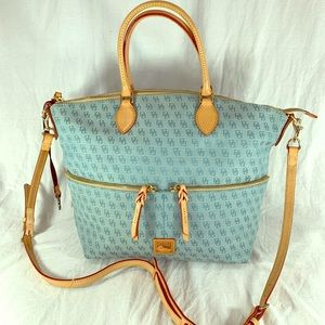 DOONEY and BOURKE Light Blue Canvas Tan Leather